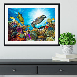 Reef with many fishes and sea turtle Framed Print - Canvas Art Rocks - 1