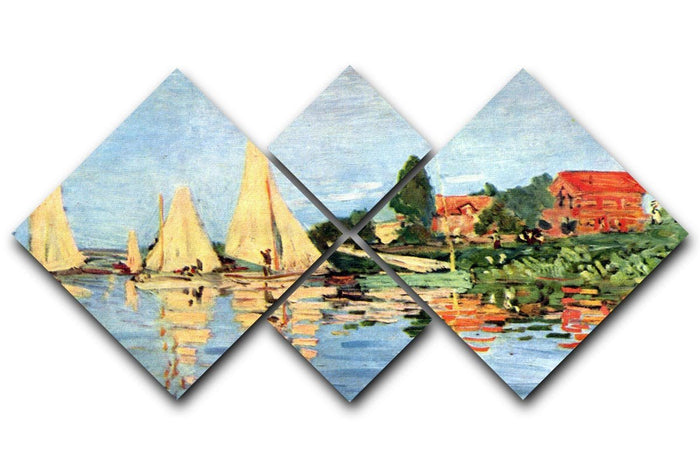 Regatta at Argenteuil by Monet 4 Square Multi Panel Canvas