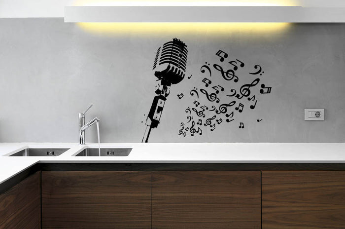 Retro Microphone With Notes Wall Sticker