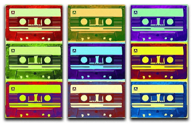 Retro Tape Cassettes 3 Split Panel Canvas Print - Canvas Art Rocks - 1
