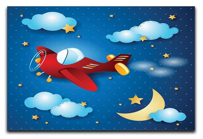 Retro airplane by night Canvas Print or Poster