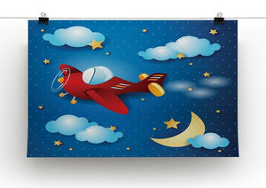 Retro airplane by night Canvas Print or Poster - Canvas Art Rocks - 2