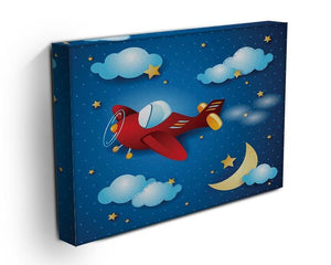 Retro airplane by night Canvas Print or Poster - Canvas Art Rocks - 3