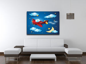 Retro airplane by night Canvas Print or Poster - Canvas Art Rocks - 4