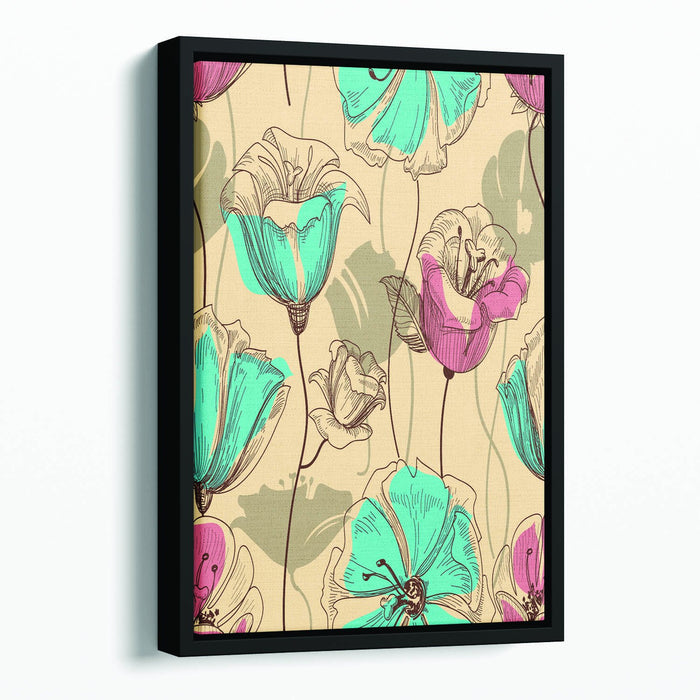 Retro floral seamless pattern Floating Framed Canvas