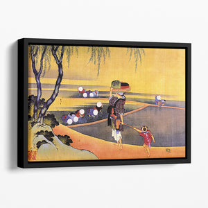 Rice fields by Hokusai Floating Framed Canvas