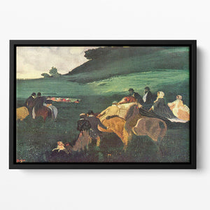 Riders in the landscape by Degas Floating Framed Canvas
