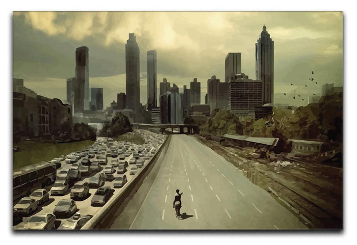 Rick Riding Into Atlanta City The Walking Dead Canvas Print or Poster