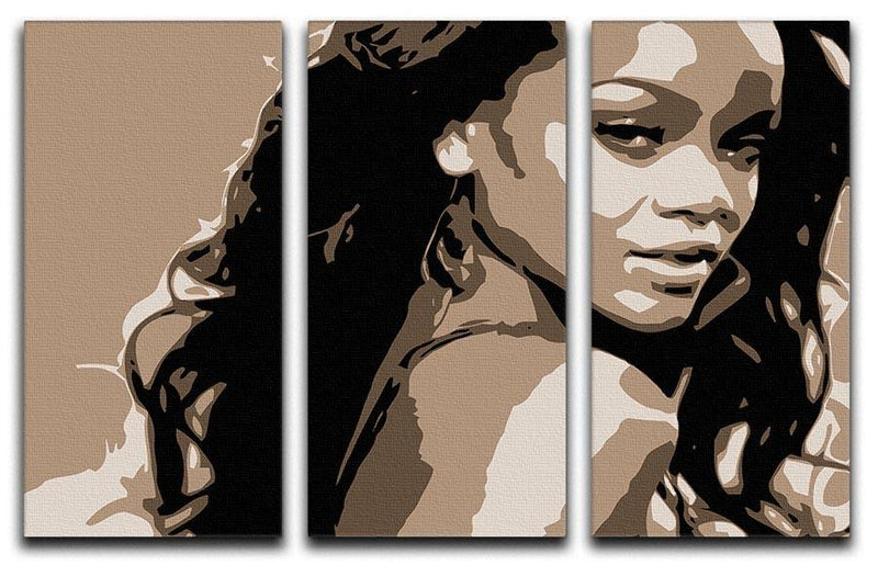 Rihanna Pop Art 3 Split Panel Canvas Print - Canvas Art Rocks - 1