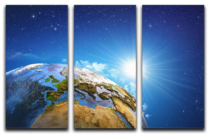 Rising sun over the Earth and its landforms 3 Split Panel Canvas Print