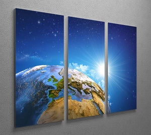 Rising sun over the Earth and its landforms 3 Split Panel Canvas Print - Canvas Art Rocks - 2