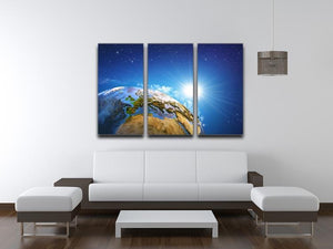 Rising sun over the Earth and its landforms 3 Split Panel Canvas Print - Canvas Art Rocks - 3