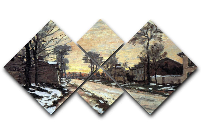 Road to Louveciennes melting snow children sunset by Monet 4 Square Multi Panel Canvas