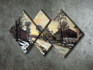 Road to Louveciennes melting snow children sunset by Monet 4 Square Multi Panel Canvas - Canvas Art Rocks - 2