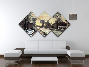 Road to Louveciennes melting snow children sunset by Monet 4 Square Multi Panel Canvas - Canvas Art Rocks - 3