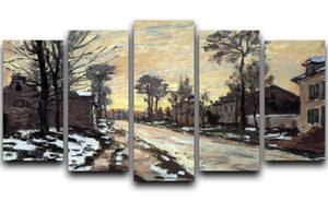 Road to Louveciennes melting snow children sunset by Monet 5 Split Panel Canvas  - Canvas Art Rocks - 1