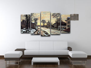 Road to Louveciennes melting snow children sunset by Monet 5 Split Panel Canvas - Canvas Art Rocks - 3