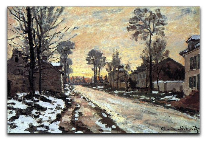 Road to Louveciennes melting snow children sunset by Monet Canvas Print or Poster