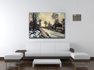 Road to Louveciennes melting snow children sunset by Monet Canvas Print & Poster - Canvas Art Rocks - 4