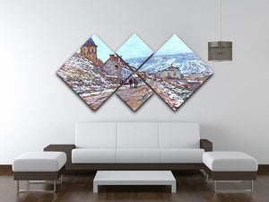 Road to Vetheuil in winter by Monet 4 Square Multi Panel Canvas - Canvas Art Rocks - 3