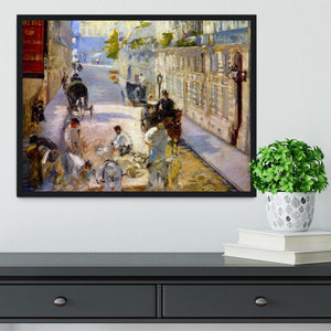 Road workers rue de Berne by Manet Framed Print - Canvas Art Rocks - 2