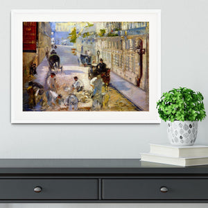 Road workers rue de Berne by Manet Framed Print - Canvas Art Rocks - 5