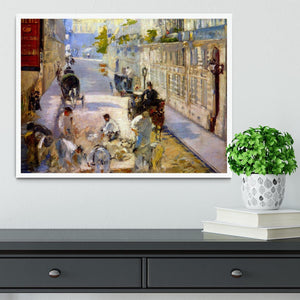 Road workers rue de Berne by Manet Framed Print - Canvas Art Rocks -6