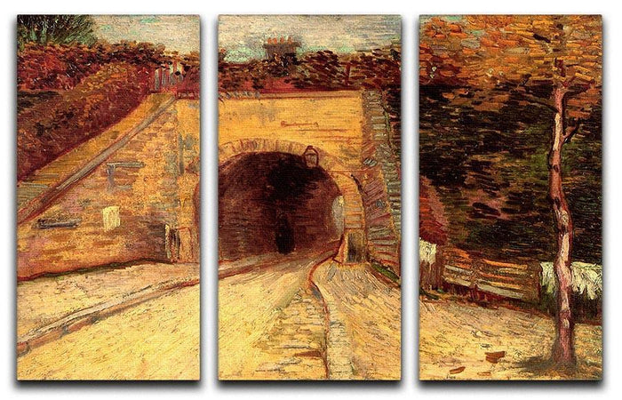 Roadway with Underpass The Viaduct by Van Gogh 3 Split Panel Canvas Print