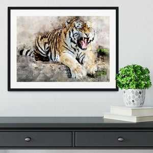 Roaring Tiger Framed Print - Canvas Art Rocks - 1