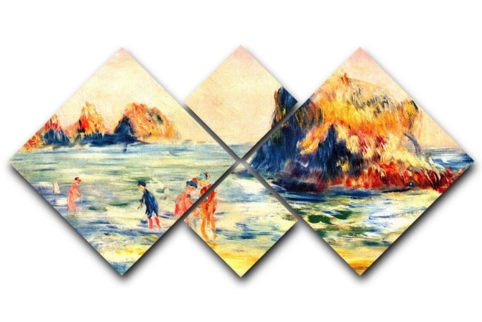 Rock cliffs in Guernsey by Renoir 4 Square Multi Panel Canvas