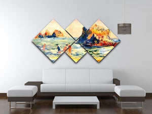 Rock cliffs in Guernsey by Renoir 4 Square Multi Panel Canvas - Canvas Art Rocks - 3