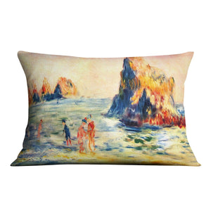 Rock cliffs in Guernsey by Renoir Throw Pillow