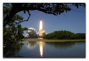 Rocket Over Lake Print - Canvas Art Rocks - 1