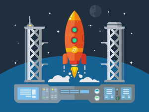 Rocket Startup Flat Desing Concept Wall Mural Wallpaper - Canvas Art Rocks - 1