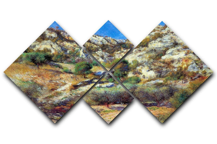 Rocks at LEstage by Renoir 4 Square Multi Panel Canvas