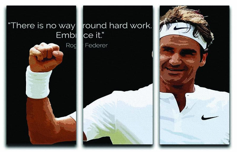 Roger Federer Hard Work 3 Split Panel Canvas Print - Canvas Art Rocks - 1