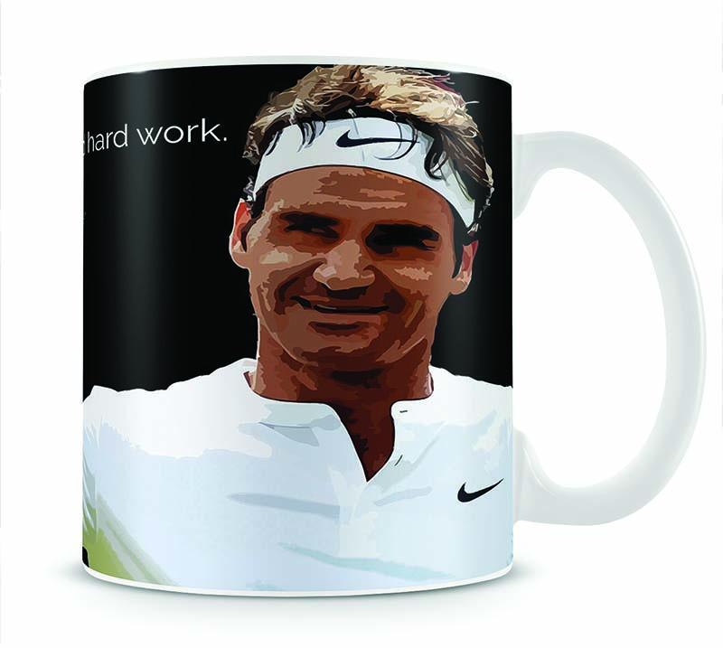 Roger Federer Hard Work Cup - Canvas Art Rocks - 1