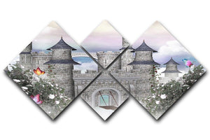 Romantic castle 4 Square Multi Panel Canvas  - Canvas Art Rocks - 1