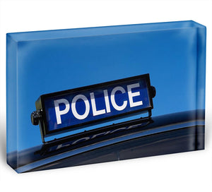 Rooftop sign on a vintage british police car Acrylic Block - Canvas Art Rocks - 1