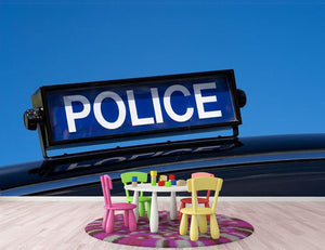 Rooftop sign on a vintage british police car Wall Mural Wallpaper - Canvas Art Rocks - 3