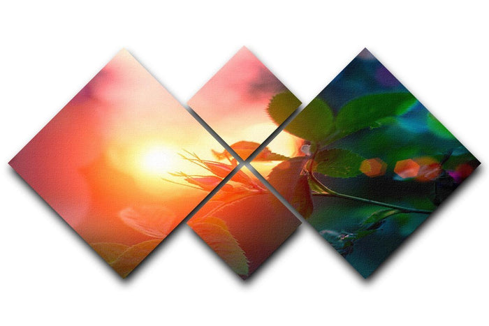 Rosebuds at sunset 4 Square Multi Panel Canvas