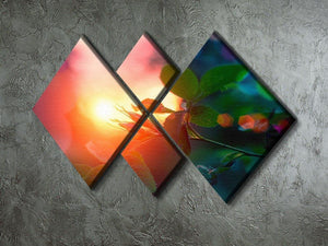 Rosebuds at sunset 4 Square Multi Panel Canvas  - Canvas Art Rocks - 2