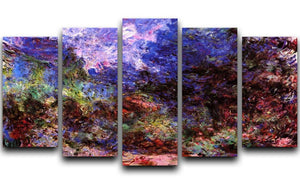 Roses at the garden side of Monets house in Giverny by Monet 5 Split Panel Canvas  - Canvas Art Rocks - 1