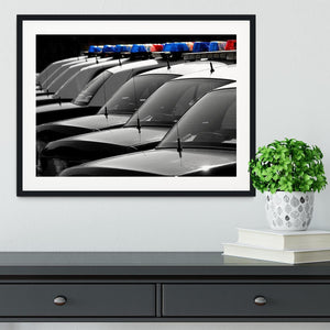 Row of Police Cars with Blue and Red Lights Framed Print - Canvas Art Rocks - 1