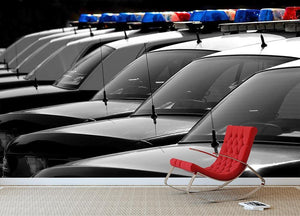 Row of Police Cars with Blue and Red Lights Wall Mural Wallpaper - Canvas Art Rocks - 2