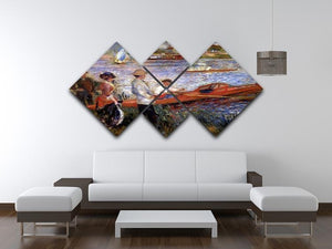 Rowers from Chatou by Renoir 4 Square Multi Panel Canvas - Canvas Art Rocks - 3