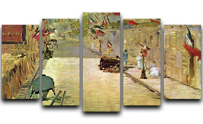 Rue Mosnier with Flags by Manet 5 Split Panel Canvas