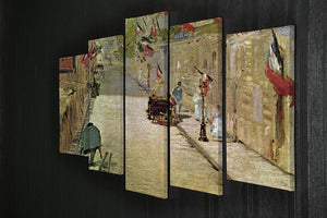 Rue Mosnier with Flags by Manet 5 Split Panel Canvas - Canvas Art Rocks - 2