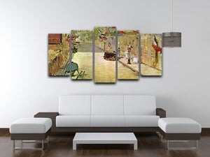 Rue Mosnier with Flags by Manet 5 Split Panel Canvas - Canvas Art Rocks - 3