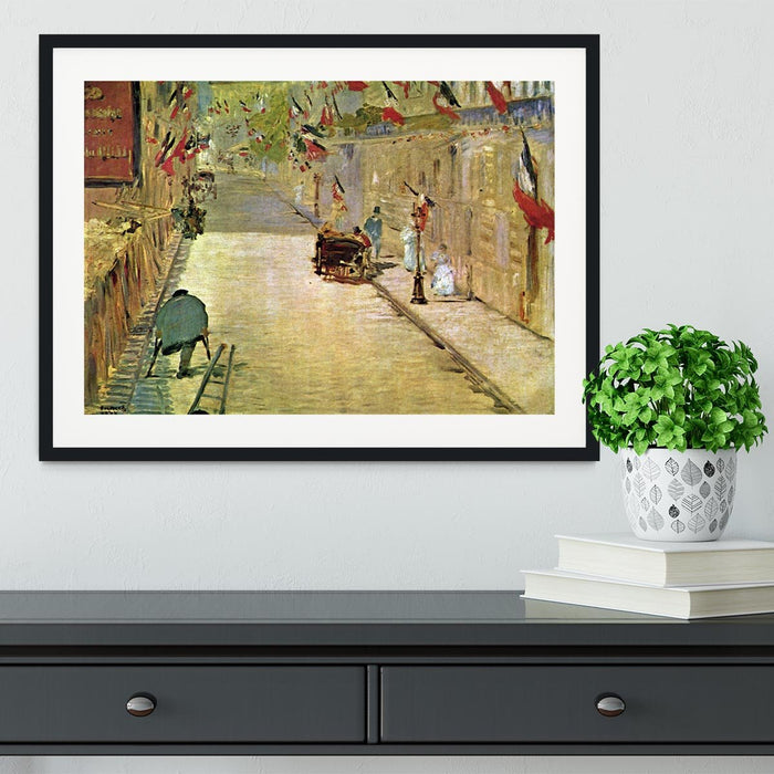 Rue Mosnier with Flags by Manet Framed Print